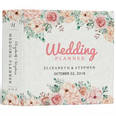 Chic Watercolor Botanical Floral Wedding Planner 3 Ring Binder