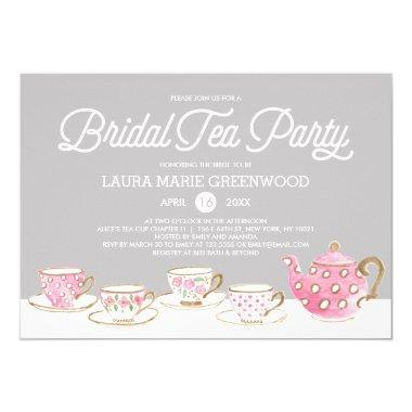 Chic Watercolor Bridal Tea Party Bridal Shower Invitations