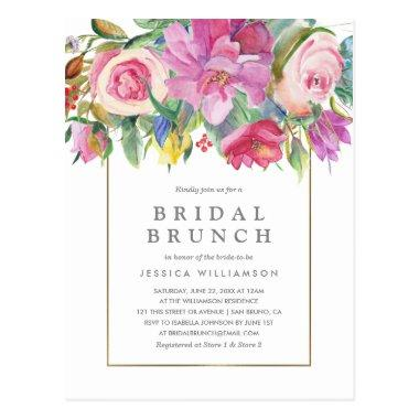 Chic Watercolor Floral Bridal Brunch PostInvitations