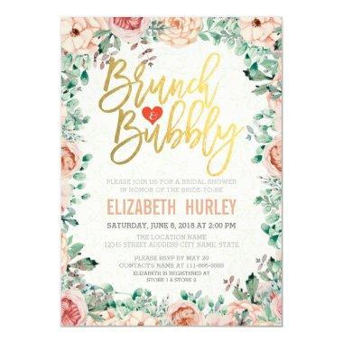 Chic Watercolor Floral Brunch Bubbly