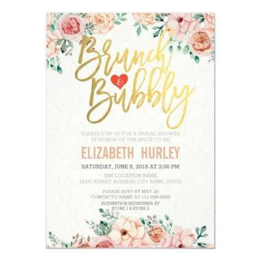 Chic Watercolor Floral Brunch Bubbly Bridal Shower Invitations