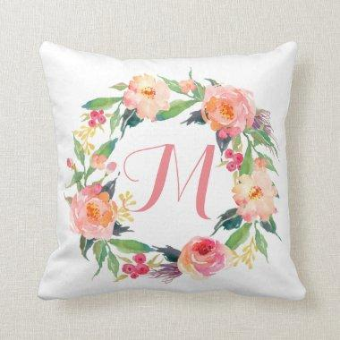 Chic Watercolor Floral Wreath Monogrammed Throw Pillow