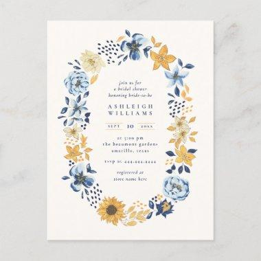 Chic Watercolor Sunflower Wreath Bridal Shower Invitation PostInvitations