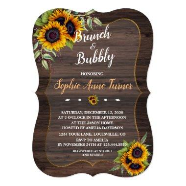 Chic Watercolour Sunflowers Wood Brunch & Bubbly