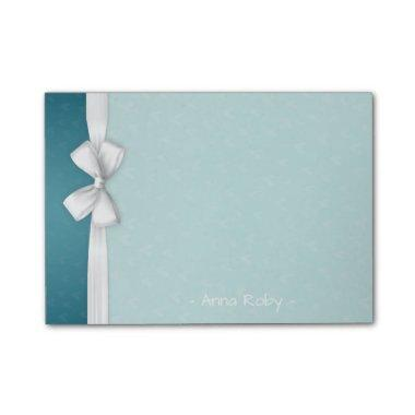 Chic White Ribbon & Turquoise Elegant Post-it-Note Post-it Notes