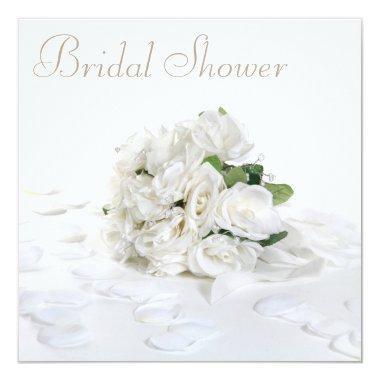 Chic White Roses Bouquet & Petals