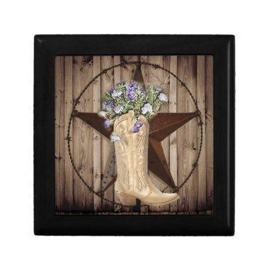 Chic Wildflower Texas Star Western country cowgirl Keepsake Box