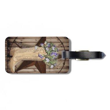Chic Wildflower Texas Star Western country cowgirl Luggage Tag