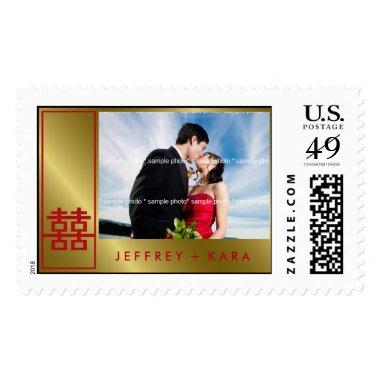 Chinese Double Happiness Box Wedding Photo Stamps
