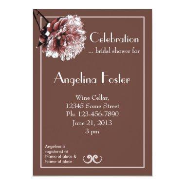 Chocolate Brown and Pink Peony Bridal Shower Invitations
