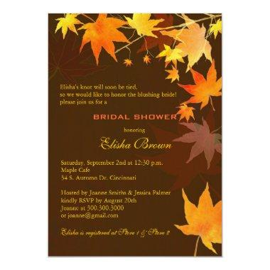 Chocolate Brown Fall Maple Bridal Shower Invitations