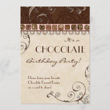 Chocolate Damask Swirl Birthday Party Invitations