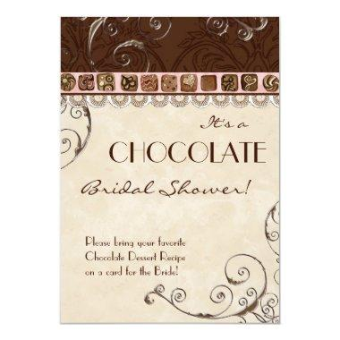 Chocolate Damask Swirl Bridal Shower Invitations