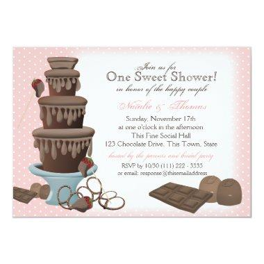Chocolate Fountain Bridal Shower Pink Invitations