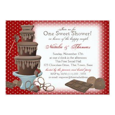 Chocolate Fountain Bridal Shower Red Invitations