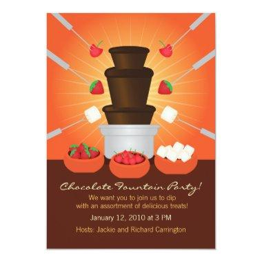 Chocolate Fountain Fondue Party Invitations