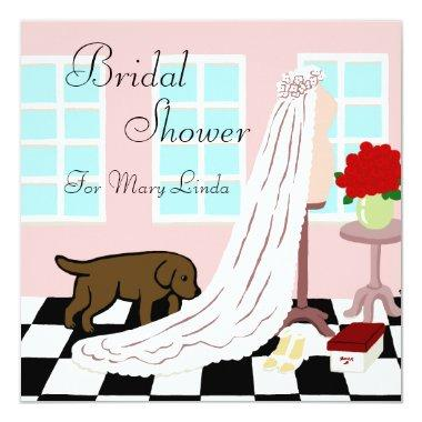 Chocolate Labrador Bridal Shower Invitations