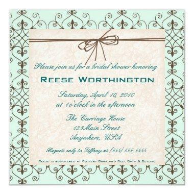 Chocolate & Mint Bridal Shower Invite
