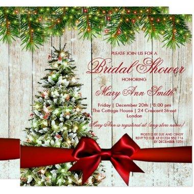 Christmas Bridal Shower Tree, Lights & Red Ribbon Invitations
