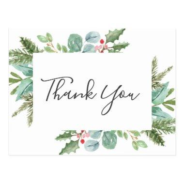 Christmas Greenery & Red Berry Thank You PostInvitations