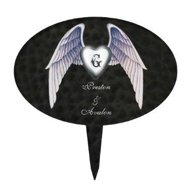 Chrome & Faux Leather Winged Heart Cake Topper
