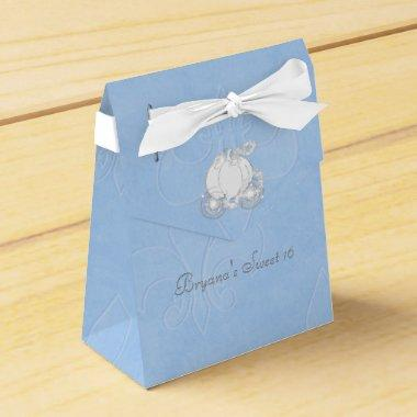 Cinderella Silver Carriage Blue Party Favor Boxes