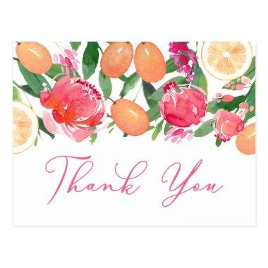 Citrus Orange Kumquat Peonies Floral Thank You PostInvitations