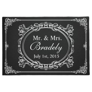 Classic Black White Mr Mrs Wedding Art Deco Frame Doormat