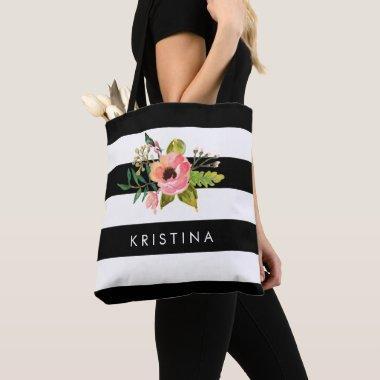 Classic Black White Stripes Floral Shopping Bag