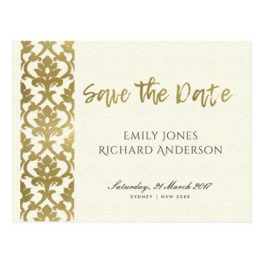 CLASSIC GOLD DAMASK FLORAL PATTERN SAVE THE DATE POST