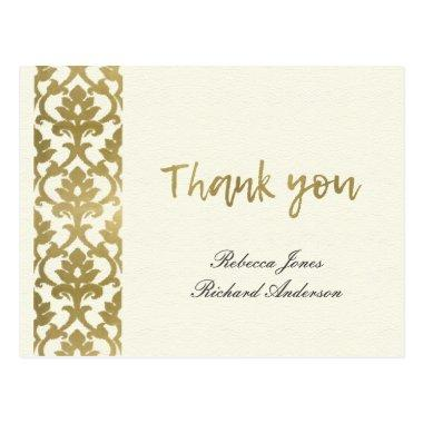CLASSIC GOLD DAMASK FLORAL PATTERN THANK YOU POST