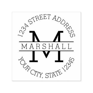 Classic Monogram with Name and Return Address Self-inking Stamp