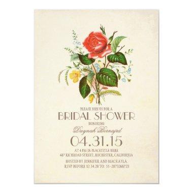 classic vintage watercolor flower bridal shower Invitations