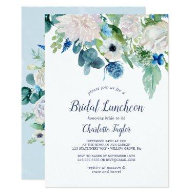Classic White Flowers Bridal Luncheon Invitations