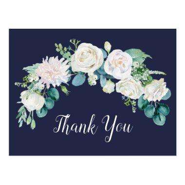 Classic White Flowers | Navy Thank You PostInvitations