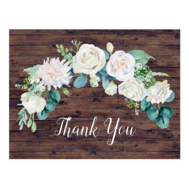 Classic White Flowers | Rustic Thank You PostInvitations