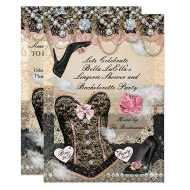 Classy and Elegant Lingerie Bachelorette Party Invitations