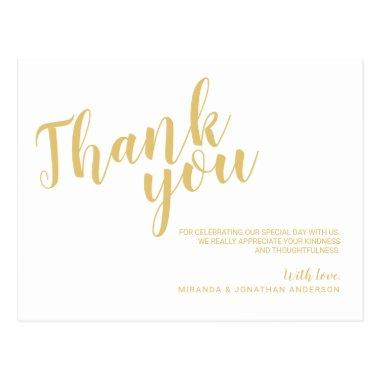 Classy Elegant White and Gold Wedding Thank You PostInvitations