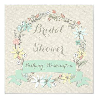 Classy Floral Wreath and Banner Bridal Shower Invitations