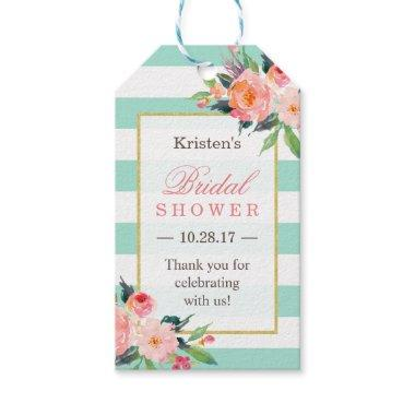 Classy Mint Green Floral  Thank You Gift Tags