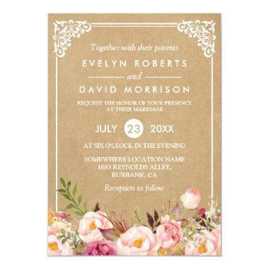 Classy Rustic Floral Frame Kraft | Formal Wedding