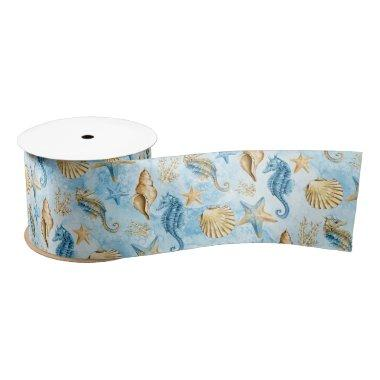 Coastal Chic | Modern Blue and Gold Under the Sea Satin Ribbon