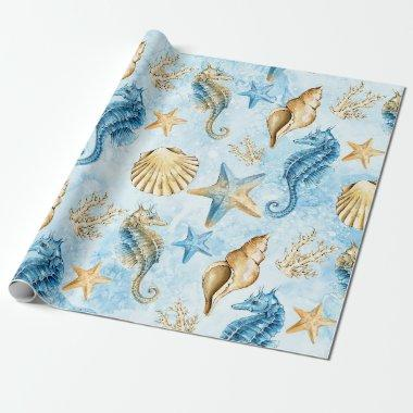 Coastal Chic | Modern Blue and Gold Under the Sea Wrapping Paper