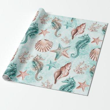 Coastal Chic | Teal and Coral Reef Pastel Pattern Wrapping Paper