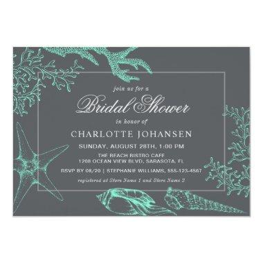 Coastal Sea Coral Nautical Theme Bridal Shower Invitations