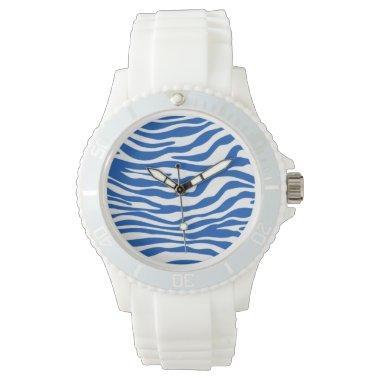 Cobalt Blue Zebra Stripes Animal Print Wristwatch
