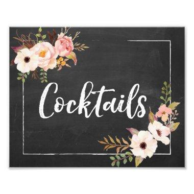 Cocktails Rustic Chalkboard Floral Wedding Sign