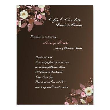 Coffee Chocolate Pink Brown Bridal Shower Invite
