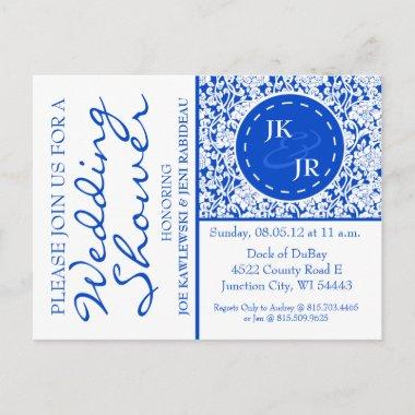 Colbalt Blue Flourish and Umbrella Bridal Shower Invitation PostInvitations