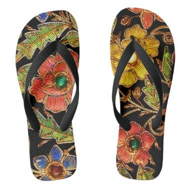 Colorful Beaded Flowers on Velvet Flip Flops